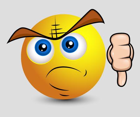 venganza: Smiley enojado muestra el pulgar abajo