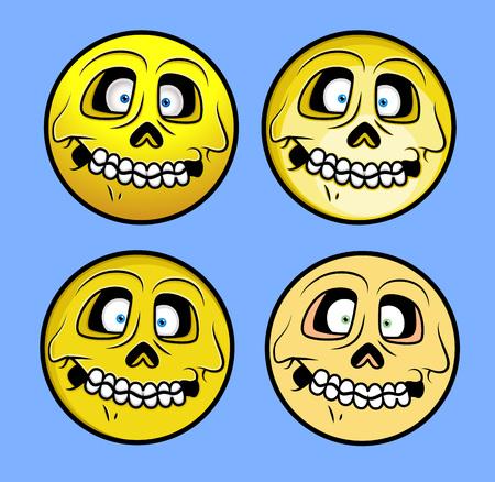 facial gestures: Horrible Halloween Skull Emoticons