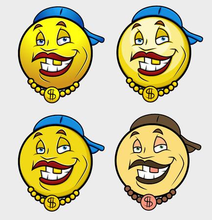 baile caricatura: Rap cantante Emoji Conjunto sonriente del Emoticon