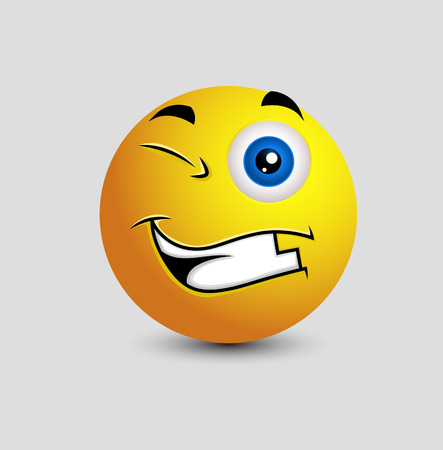 making face: Cheerful Winking Smiley Illustration