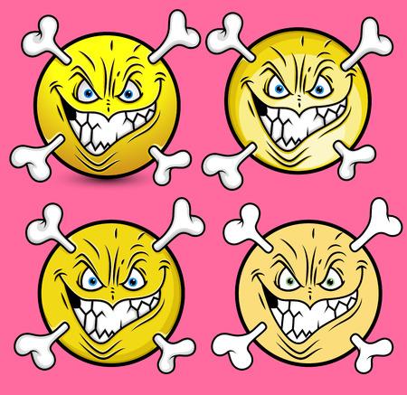 skull with crossed bones: Creepy Halloween Emoticons