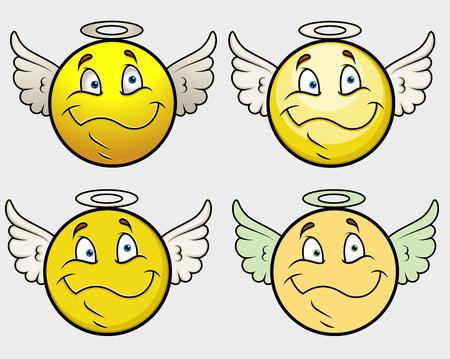 innocent: Angel Smiley Vector Set
