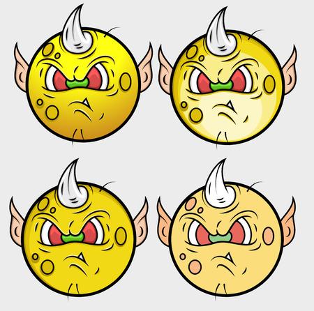 single eyed: Goblin Monster Smiley Vector Set