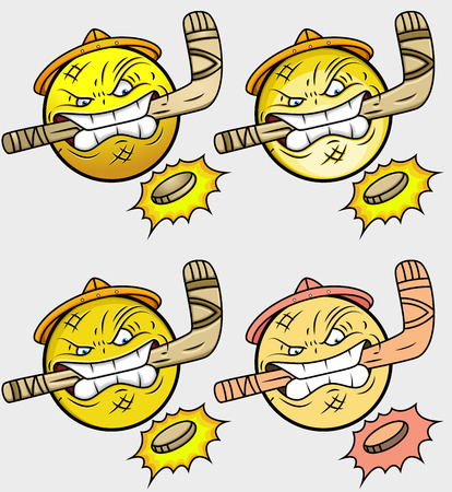 ice hockey player: Ice Hockey Player Emoticon Set
