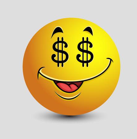 rapacious: Greedy Dollar Eyes Emoticon