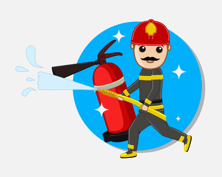 guard duty: Cartoon Fireman Holding a Fire Hose with Fire Extinguisher Illustration