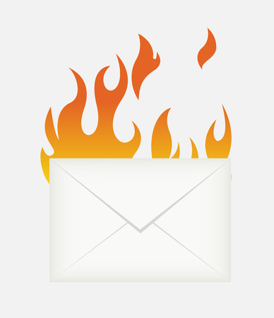 flame letters: Hot Mail Icon