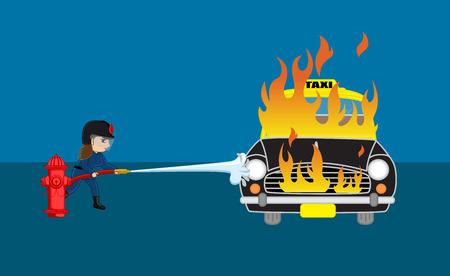 Feuerwehrmann Der Versuch, den brennenden Auto mit Feuerwehrschlauch auszulöschen