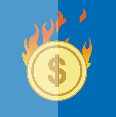 usd: Flammable Gold USD Coin Illustration