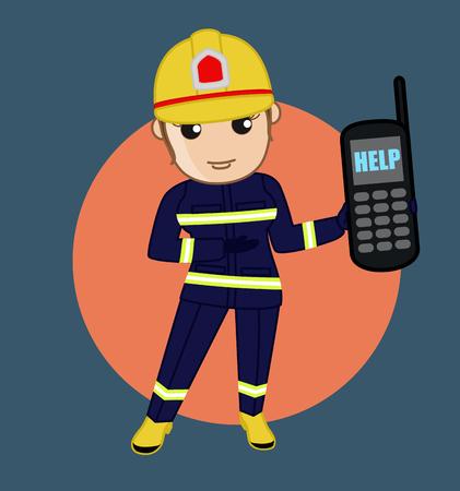 fire brigade: Fire Brigade Helpline - Cartoon Vector Concept