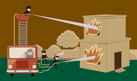 building inspector: Fire-Brigade Rescue Team Trying to Protect Burned House Vector Illustration Illustration