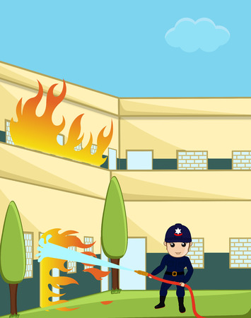 guard duty: Firefighter Character Trying to Rescue the Burned Building