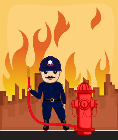 fire hose: Firefighter Character Holding a Hydrant Fire Hose Illustration