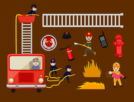 guard duty: Fire-Brigade Vector Equipments and icons