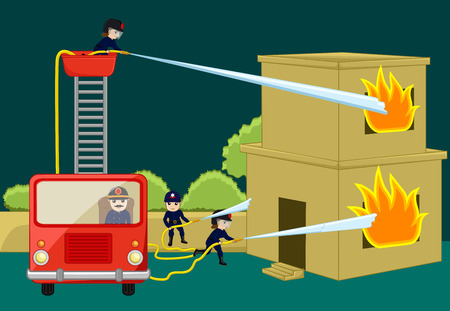 burning house: Fire-Brigade Team Trying to Rescue Burning House