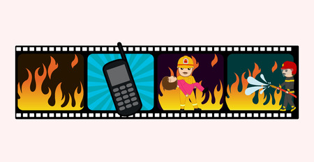 bravery: Conceptual Film Strip on Fire and Firefighters