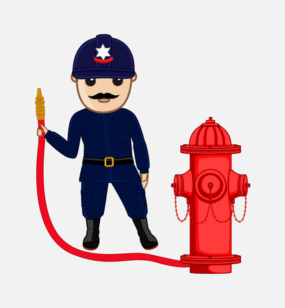 water pipe: Cartoon Fireman Holding a Hydrant Water Pipe