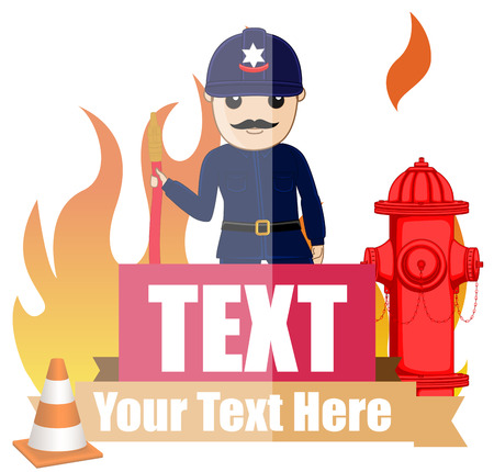 fire hose: Firefighter with Fire Hose Vector Illustration Illustration