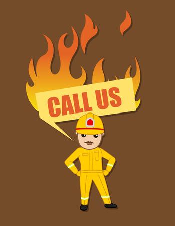 call us: Call Us Banner - Cartoon Firefighter Character
