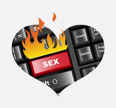 sexo: Botón de Sexo en el teclado ilustración vectorial
