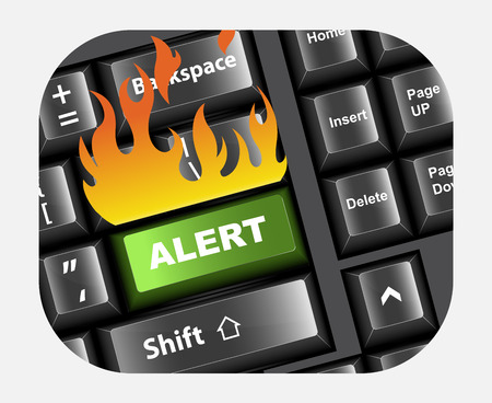 hacked: Alert Button in Keyboard Vector Illustration