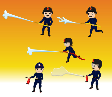 guard duty: Firefighter Characters with Fire Hose and Fire-Extinguisher