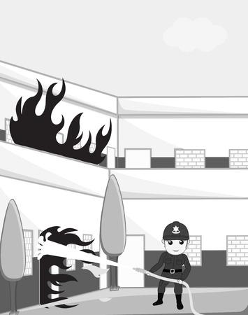 Bombero de sexo femenino Blow-Out del fuego con el manguito de fuego
