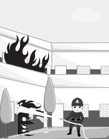 guard duty: Female Firefighter Blow-Out the Fire with Fire Hose