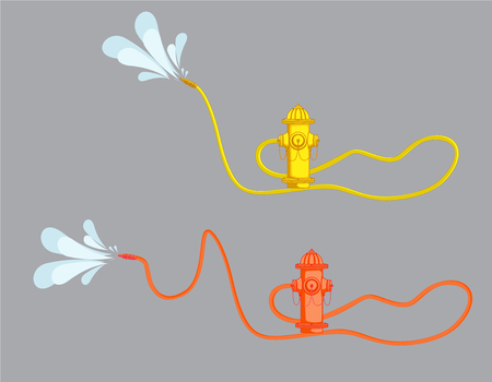 fire hose: Hydrant with Fire Hose Vector
