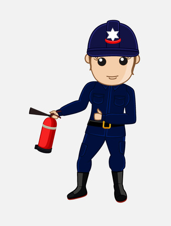 guard duty: Lady Firefighter Holding a Fire-Extinguisher Illustration