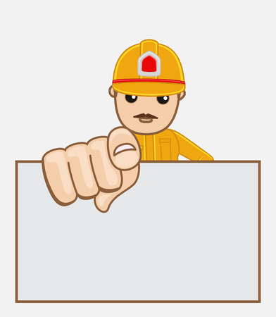 advertisement: Firefighter Engineer with Blank Advertisement Board Illustration