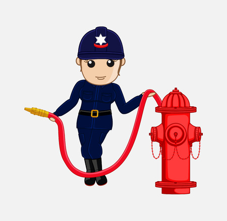 fire hose: Lady Firefighter Character Holding a Fire Hose