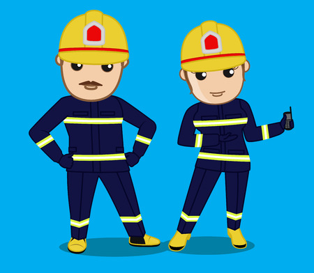 young male: Young Male and Female Firefighter Characters