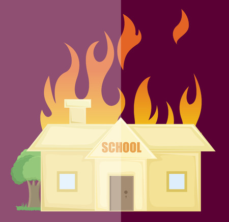 burning: Burning School House Vector