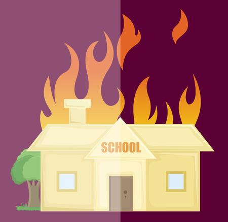 revenge: La quema de casa de la escuela del vector