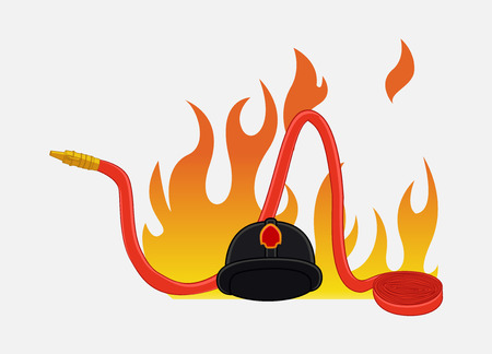 fire hose: Fireman Hat and Fire Hose Isolated on Fire Vector