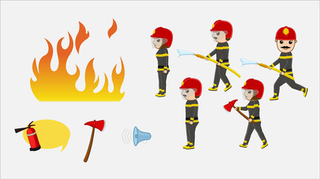 guard duty: Firefighter Characters Vector Illustration