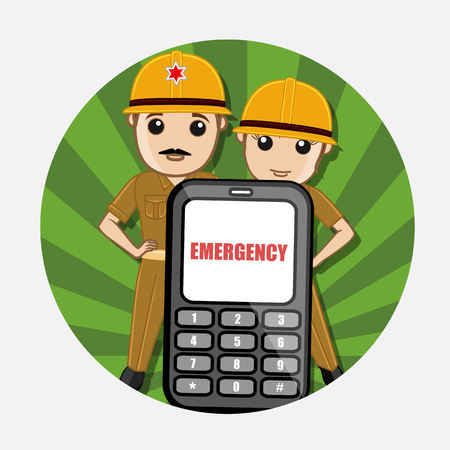 24x7: Emergency Call for Fire Brigade Service Vector Concept Illustration