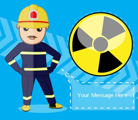 radiacion: Alerta de la radiación - Ingeniero de dibujos animados Vectores