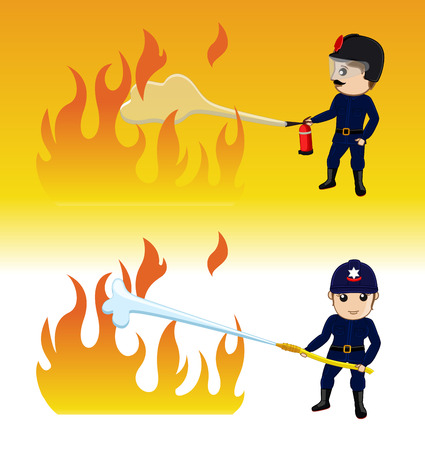 extinguish: Firefighter Characters Trying to Extinguish the Fire Illustration