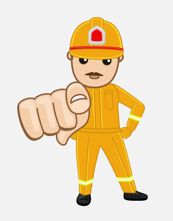 pointing finger pointing: Cartoon Firefighter Pointing Finger