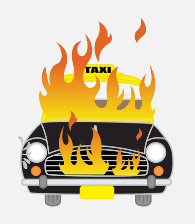 explosion risk: Burning Car Vector Illustration Illustration