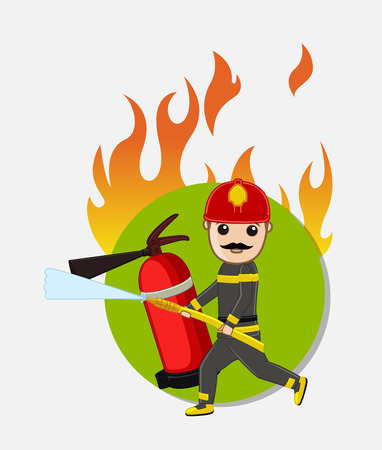 guard duty: Firefighter Character Running for Rescue Illustration