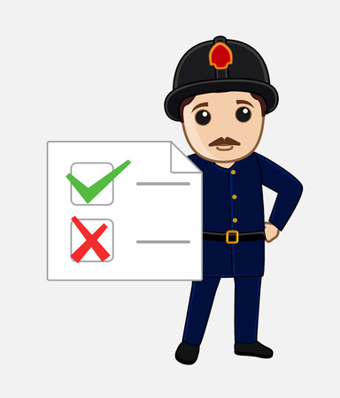 result: Fireman Character Showing a Result List Illustration