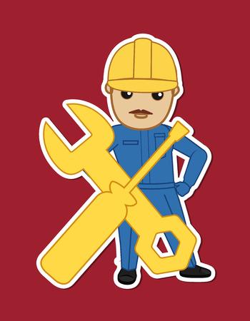 serviceman: Cartoon Serviceman Character Sticker
