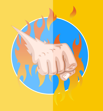 Power Punch with Fire Vector Illustration