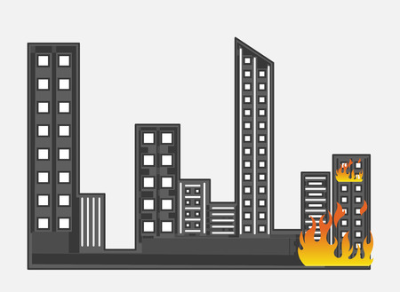 burning: Burning Building Vector Illustration Illustration