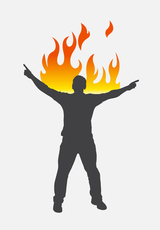 burning: Burning Person Vector Silhouette