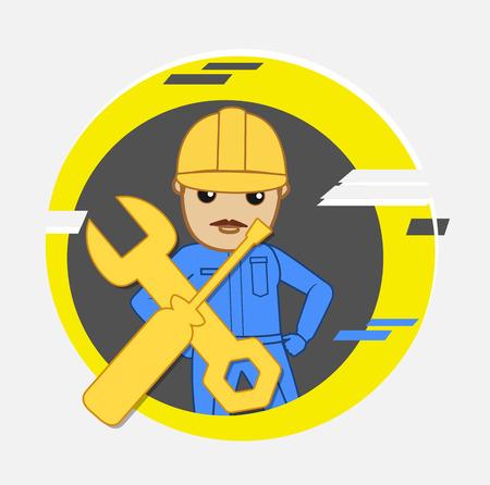 serviceman: Cartoon Serviceman Character
