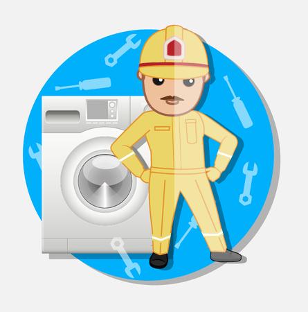 serviceman: Cartoon Serviceman for Washing Machine Repair